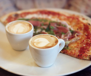 food, coffee, and pizza image