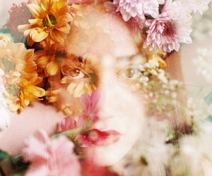 double exposure, flowers, and girl image