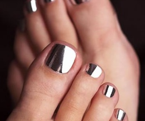 nails, metallic, and toes image