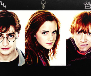 harry potter, hermione, and rony image