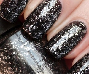 black, glitter, and nail image