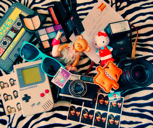 camera, hello kitty, and glasses image
