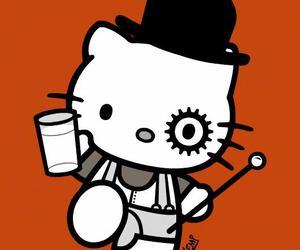 b&w, cartoon, and hello kitty image