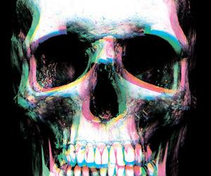 skull, 3d, and black image