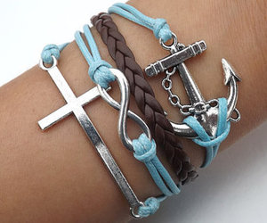 bracelet, anchor, and blue image