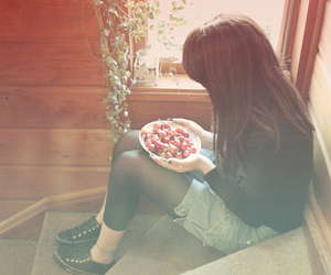 alone, brunette, and food image
