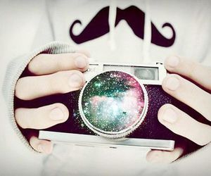camera, mustache, and galaxy image