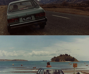 beach, car, and mountains image