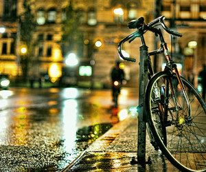 rain, bike, and night image