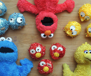 cookie monster, cupcake, and elmo image