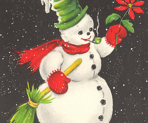 cards, snowmen, and vintage image