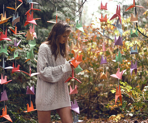 girl, origami, and nature image