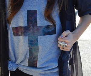 cross, ring, and girl image