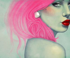 art, hair, and pink hair image