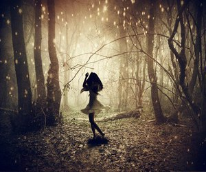 girl, forest, and light image