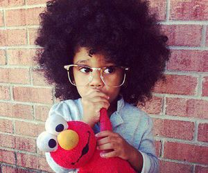 Afro, big hair, and elmo image