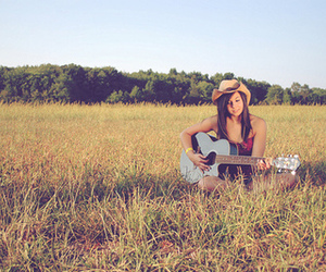 girl, guitar, and field image
