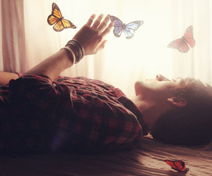 boy, butterfly, and photography image