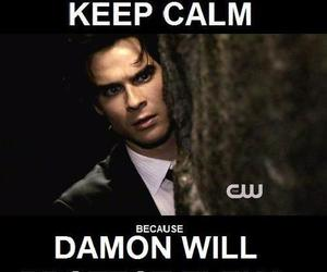 damon salvatore, keep calm, and damon image