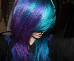 hair, dyed hair, and blue image