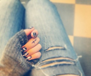 girl, nails, and tattoo image