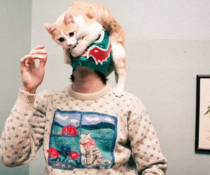 cat, boy, and mask image