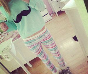 boots, leggings, and mint green image