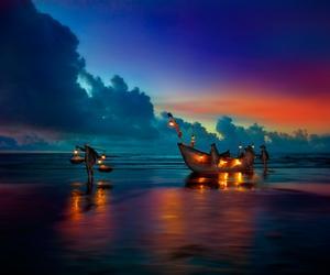 light, boat, and sea image