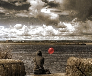 balloon, clouds, and red image