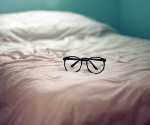 glasses, bed, and photography image