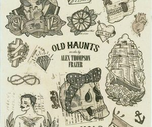 skull, tattoo, and vintage image
