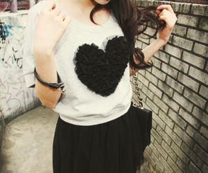 girl, heart, and black image