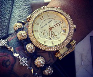 watch, tattoo, and gold image