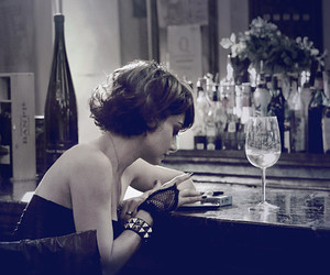 girl, alone, and wine image