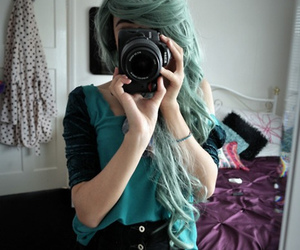 girl, hair, and camera image