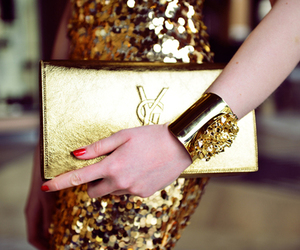 fashion, gold, and YSL image