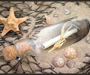 beach, bottle, and message image