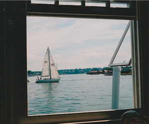 sea, boat, and window image