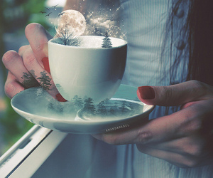 moon, tea, and cup image