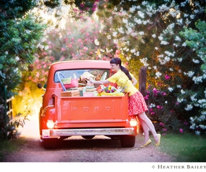 truck, car, and flowers image