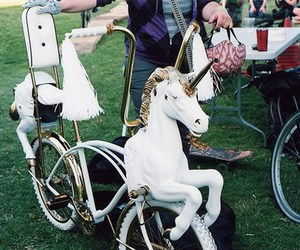 unicorn, bike, and bicycle image