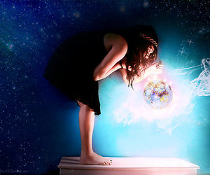 girl, blue, and light image