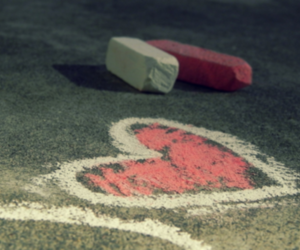 love, heart, and chalk image