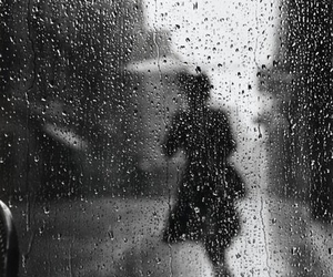 rain, black and white, and shadow image