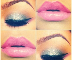 lips, pink, and eyes image