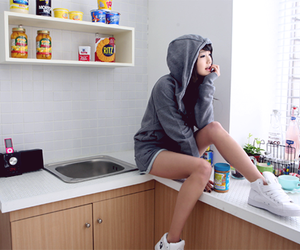 girl, kitchen, and hoodie image