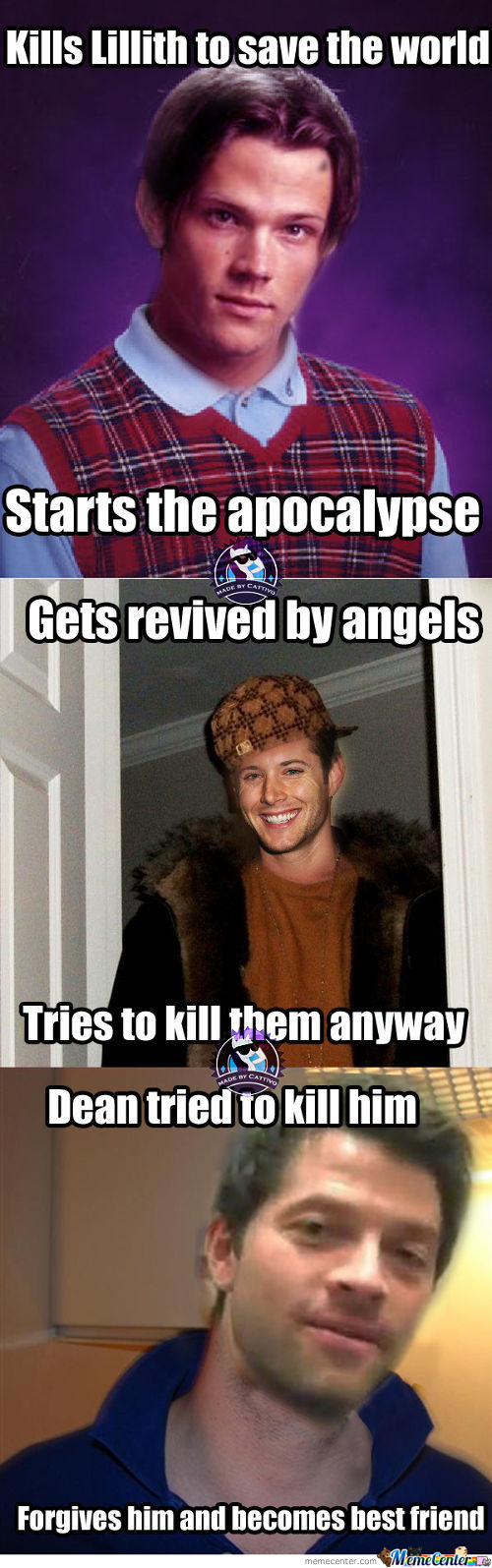 original supernatural meme center shared by rettxed on we heart it