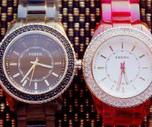 watch, fossil, and pink image