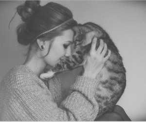 cat, black and white, and girl image