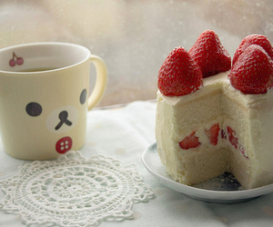 cake, cute, and strawberry image